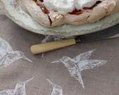 Linen Tea Towel - Hummingbird Tea Towel - Pure Linen Towels - 100% Natural linen Tea Towel -  Hand Printed Tea Towel - Dishcloth 26 x 18