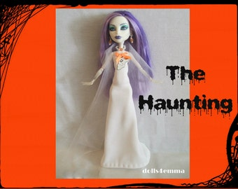 Halloween Monster High Doll Clothes - Ghostly Gown and Jewelry - handmade by dolls4emma