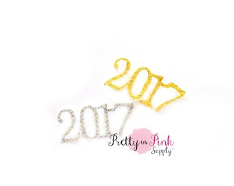"Glitter 2017 Felt Applique""- Glitter Felt- Party Supply- Birthday DIY Supply- Felt Glitter Craft- Hair Bows- DIY Craft Supply"