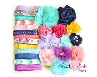 DIY Headband Kit #217-Headband Making Supplies-Baby Shower Headband Kit-Headband Kit Baby Shower-Headband Supplies
