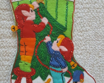 Vintage Bucilla Stocking AWESOME Elves Decorating the Christmas Tree