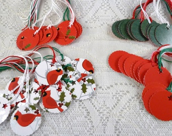 50 Holiday Tags, Cardinal and Holly Theme