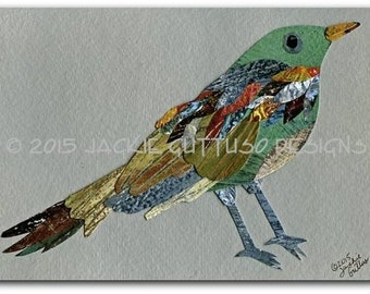 "Bird collage art, 5 x 7"" Giclee print, Woodland nursery art, Bird painting print, Animal collage art, Wildlife cabin decor, Bird nursery art"