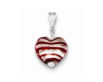Sterling Silver Frosted Red 12mm Glass Heart Pendant
