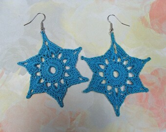 Crochet Earrings Turquoise Stars Pierced BIG & Lightweight