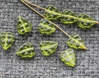 Czech Glass Leaf Beads - 25Pc (8х10mm) Czech Glass Beads, Czech Glass, Olivine Leaf Beads, Olive Green Leaves, Pressed Glass Leaf, Czech