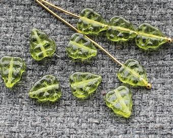 Czech Glass Leaf Beads 25Pc 8х10mm, Czech Glass Beads, Czech Glass, Olivine Leaf Beads, Olive Green Leaves, Pressed Glass Leaf, Czech Beads