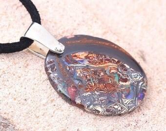 Fine Boulder Opal & Diamond Pendant in Sterling by ...