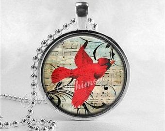 CARDINAL Necklace, Cardinal Pendant, Cardinal Jewelry, Cardinal Bird, Cardinal Charm, Glass Photo Art Necklace, Bird Necklace, Cardinal