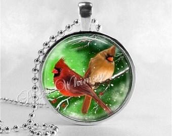 CARDINAL Necklace, Cardinal Bird Necklace, Cardinal Jewelry, Red Bird, Cardinal Charm, Cardinal, Glass Photo Art Necklace, Bird Necklace