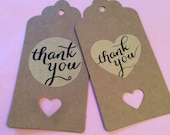 Kraft Heart Thank you Wedding Favors Favours Cards Kraft Luggage Tags Gift Baby Shower x 10