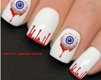 Halloween Eyeballs Blood Nail Art Design Decals Water Transfers Stickers #732A