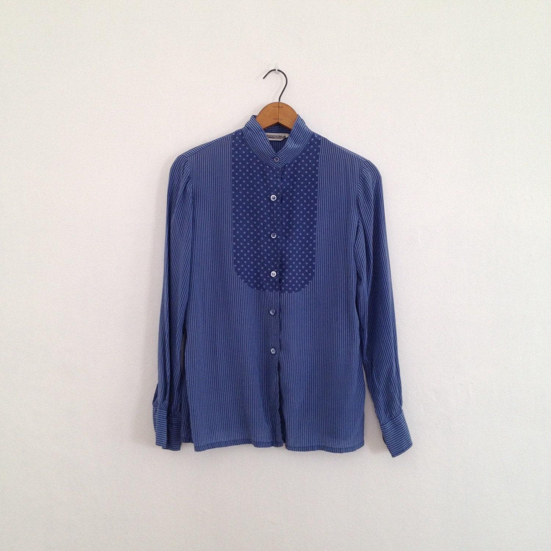 Blue Silk Blouse 70s Shirt Womens Vintage Silk Shirt