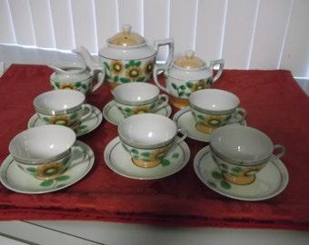Vintage Lusterware Tea Set Japanese 1940's Tea Set For Six