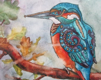 Kingfisher Original Fine Art Giclee Print- 'The Kingfisher's Perch'. Mounted watercolour, gold ink and marker print.