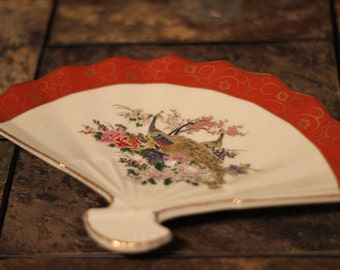 Japanese Peacoks and Floral Fan Dish Tray Gold Trim