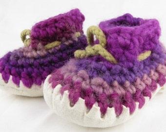 1 year olds crochet slipper, handmade, sheep skin sole, 100% pure wool