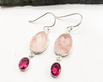 Rose Quartz and Pink Tourmaline 925 Silver Earrings