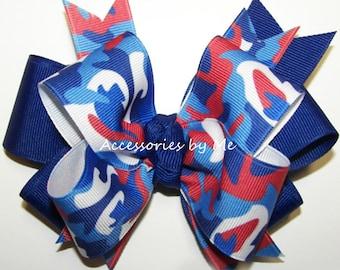 Patriotic Hair Bow, Camouflage Hairbow Clip, Red White Blue Camo Ribbon Bows, Softball Hair Bows, Cheerleader Spirit Football School Team
