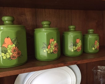 Kromex Avocado Green Pear and Grapes Aluminum Kitchen Canisters