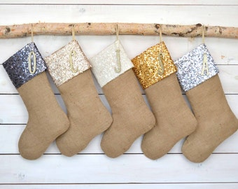Personalized Christmas Stocking - Sequins and Burlap Stockings - Set of 5 - Burlap Stockings, Stockings