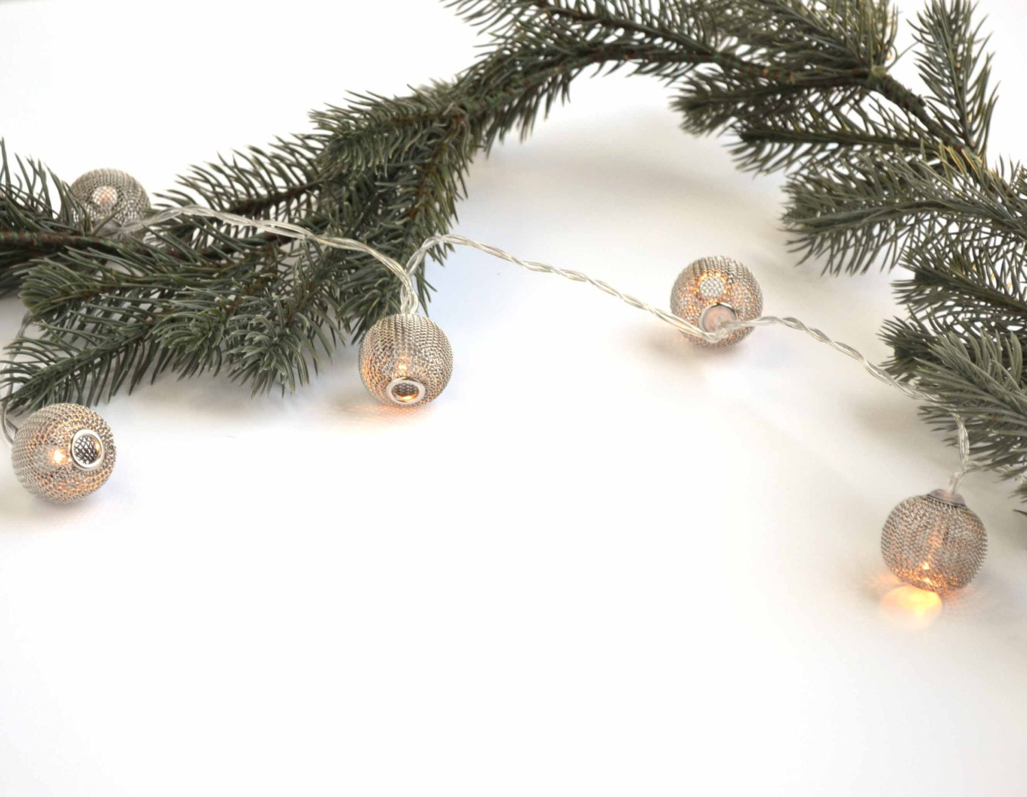 String Lights For Mantelpiece : Silver Christmas Lights - Round Silver Netted White Lights - Battery Operated Lights, Mantel ...