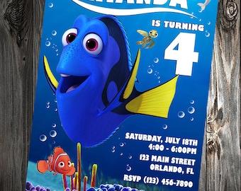 Custom Finding Dory Birthday Party Invitations - DIY Printable File