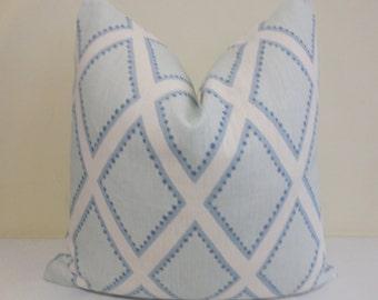 Custom Order - Sarah Richardson for Kravet Brookhaven in Chambray-  Blue Diamond  - Pillow Cover -Throw Pillow - Euro Sham - 26 x 26