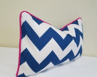 Jonathan Adler Marine Blue Chevron Lumbar Pillow Cover,- Accent Pillow, Toss Pillow,  Pillow with Piping