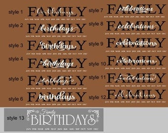 Family Birthday VINYL ONLY - Family Birthday Board Vinyl - Family Birthday Board DIY - Family Celebrations Board Vinyl