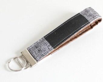 Plaid Key Fob Wristlet Black and White Key Fob Wristlet. Gift for Her Key Chain Key Fob