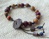 WOOD LEATHER BRACELET, Natural Jewelry, Hand-Knotted Wood Bead Bracelet, Single Wrap Bohemian Tribal Bracelet