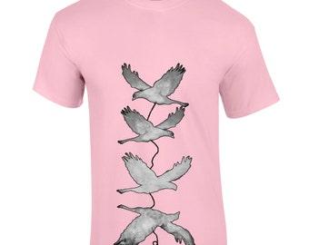 Painted birds t-shirt, bird silhouette shirt, animal lover tee, boyfriend gift