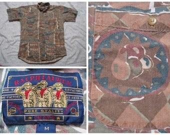 Vintage Retro Men's 90's Chaps Ralph Lauren Blue Green Brown Allover Print Buttonup Short Sleeve Medium