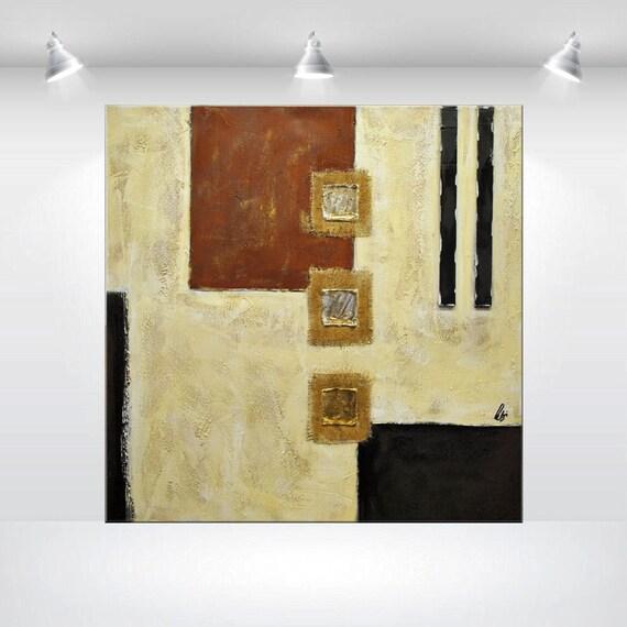 tableau abstrait contemporain beaux arts marron beige or 32 x. Black Bedroom Furniture Sets. Home Design Ideas
