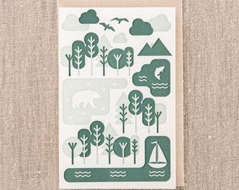Geo Forest Green Letterpress Greeting Card