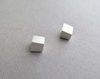 Little Asymmetrical Silver Cube Posts