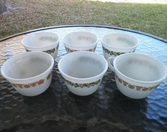 Pyrex Tea Cups Butterfly Gold and Spring Blossom Set of Six