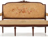 French Louis XVI Style Antique Carved Settee Sofa w/ Original Needlepoint Aubusson, 19th Century, 506MCX21P