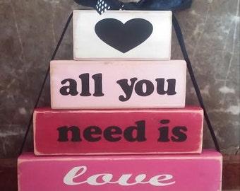 Valentine's...wooden stacking blocks