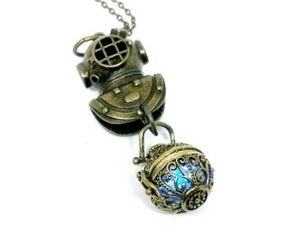 Diving Helmet Light Up Necklace Brass Nautical Handmade Gift