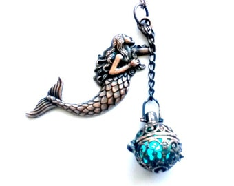 Copper Mermaid Light Up Necklace Nautical Handmade Gift
