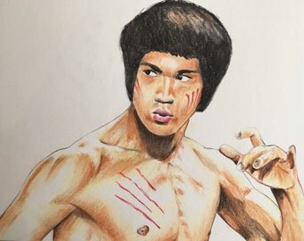 Bruce Lee original drawing  .Fan-ART a4