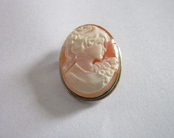 Antique 800 Silver & 18k Gold Beautiful Victorian Lady Cameo Brooch or Pendant