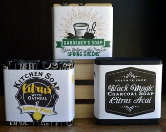Mothers Day Soap Trio in Crate, Gardeners Soap, Kitchen Soap, Charcoal Black Magic Citrus Soap, Woodburned Crate, Homestead Trio