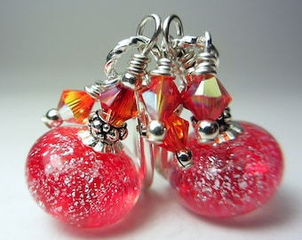Artisan Lampwork Earrings Red Earrings Dichroic Earrings Ruby Red Earrings Sterling Silver Earring Deep Red Lampwork SRA Gift for Her