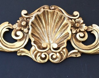 Hollywood Regency Ornate Shell & Scrolls Wall Hanging Over Door Entrance Way Bed Extra Large