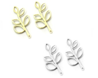 Tree Charm, Leaf Twig Branch Tree Connector, 38 x18mm Findings Supply crafting, Gold or Silver Plated, Jewelry Making