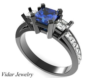 Black Gold Princess Cut Blue Sapphire Diamond Engagement Ring,Unique Engagement Ring,Diamond Engagement Ring,Black Gold Engagement Ring