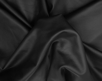 Black Pleather Faux Leather Stretchy Fabric by the Yard 3/16